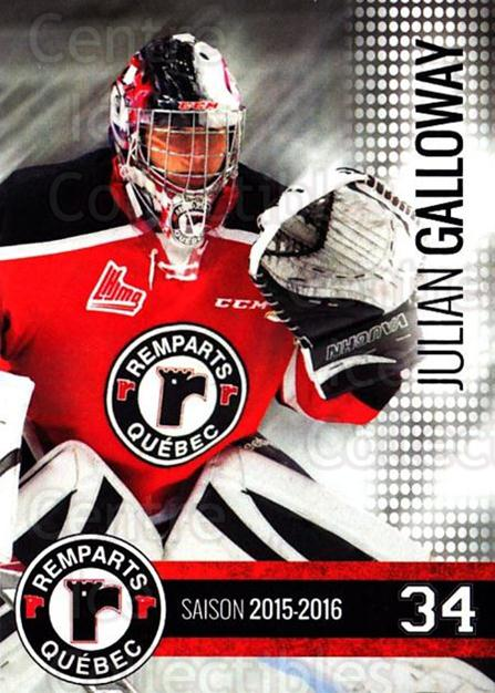 2015-16 Quebec Remparts #18 Julian Galloway<br/>1 In Stock - $3.00 each - <a href=https://centericecollectibles.foxycart.com/cart?name=2015-16%20Quebec%20Remparts%20%2318%20Julian%20Galloway...&price=$3.00&code=700116 class=foxycart> Buy it now! </a>