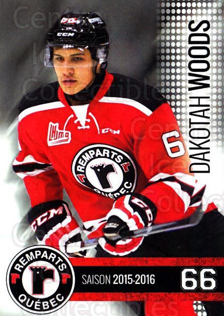 2015-16 Quebec Remparts #21 Dakotah Woods<br/>1 In Stock - $3.00 each - <a href=https://centericecollectibles.foxycart.com/cart?name=2015-16%20Quebec%20Remparts%20%2321%20Dakotah%20Woods...&price=$3.00&code=700119 class=foxycart> Buy it now! </a>
