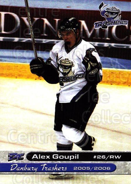 2005-06 Danbury Trashers #10 Alex Goupil<br/>1 In Stock - $3.00 each - <a href=https://centericecollectibles.foxycart.com/cart?name=2005-06%20Danbury%20Trashers%20%2310%20Alex%20Goupil...&quantity_max=1&price=$3.00&code=700134 class=foxycart> Buy it now! </a>
