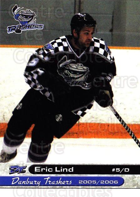 2005-06 Danbury Trashers #15 Eric Lind<br/>1 In Stock - $3.00 each - <a href=https://centericecollectibles.foxycart.com/cart?name=2005-06%20Danbury%20Trashers%20%2315%20Eric%20Lind...&quantity_max=1&price=$3.00&code=700139 class=foxycart> Buy it now! </a>