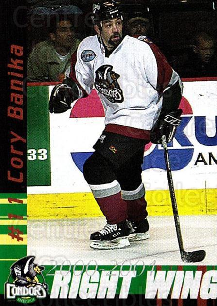 2000-01 Bakersfield Condors #2 Cory Banika<br/>3 In Stock - $3.00 each - <a href=https://centericecollectibles.foxycart.com/cart?name=2000-01%20Bakersfield%20Condors%20%232%20Cory%20Banika...&quantity_max=3&price=$3.00&code=700181 class=foxycart> Buy it now! </a>