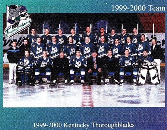1999-00 Kentucky Thoroughblades #1 Kentucky Thoroughblades, Team Photo<br/>1 In Stock - $3.00 each - <a href=https://centericecollectibles.foxycart.com/cart?name=1999-00%20Kentucky%20Thoroughblades%20%231%20Kentucky%20Thorou...&price=$3.00&code=700297 class=foxycart> Buy it now! </a>