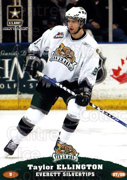 2007-08 Everett Silvertips #8 Taylor Ellington<br/>3 In Stock - $3.00 each - <a href=https://centericecollectibles.foxycart.com/cart?name=2007-08%20Everett%20Silvertips%20%238%20Taylor%20Ellingto...&price=$3.00&code=700620 class=foxycart> Buy it now! </a>