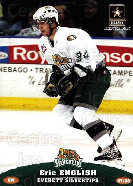 2007-08 Everett Silvertips #9 Eric English<br/>3 In Stock - $3.00 each - <a href=https://centericecollectibles.foxycart.com/cart?name=2007-08%20Everett%20Silvertips%20%239%20Eric%20English...&price=$3.00&code=700621 class=foxycart> Buy it now! </a>