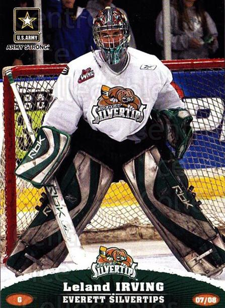 2007-08 Everett Silvertips #15 Leland Irving<br/>3 In Stock - $3.00 each - <a href=https://centericecollectibles.foxycart.com/cart?name=2007-08%20Everett%20Silvertips%20%2315%20Leland%20Irving...&quantity_max=3&price=$3.00&code=700627 class=foxycart> Buy it now! </a>