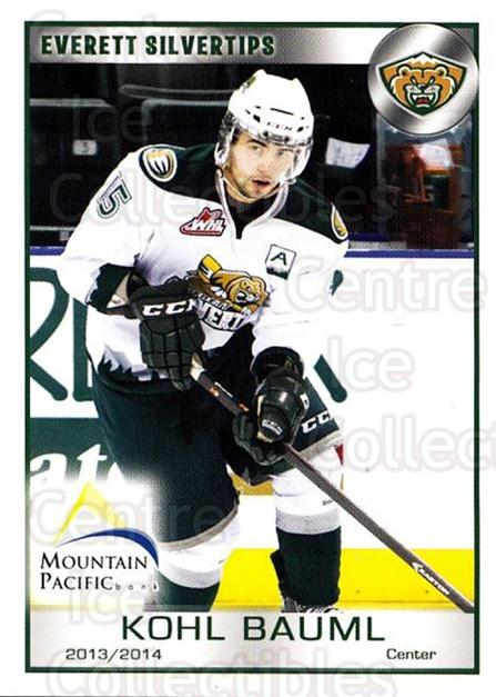 2013-14 Everett Silvertips #5 Kohl Bauml<br/>3 In Stock - $3.00 each - <a href=https://centericecollectibles.foxycart.com/cart?name=2013-14%20Everett%20Silvertips%20%235%20Kohl%20Bauml...&price=$3.00&code=700645 class=foxycart> Buy it now! </a>