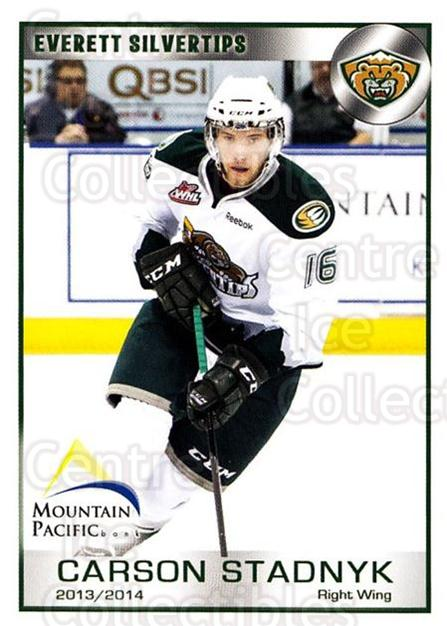 2013-14 Everett Silvertips #22 Carson Stadnyk<br/>3 In Stock - $3.00 each - <a href=https://centericecollectibles.foxycart.com/cart?name=2013-14%20Everett%20Silvertips%20%2322%20Carson%20Stadnyk...&price=$3.00&code=700662 class=foxycart> Buy it now! </a>