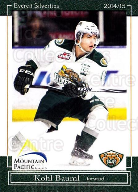2014-15 Everett Silvertips #1 Kohl Bauml<br/>14 In Stock - $3.00 each - <a href=https://centericecollectibles.foxycart.com/cart?name=2014-15%20Everett%20Silvertips%20%231%20Kohl%20Bauml...&price=$3.00&code=700669 class=foxycart> Buy it now! </a>