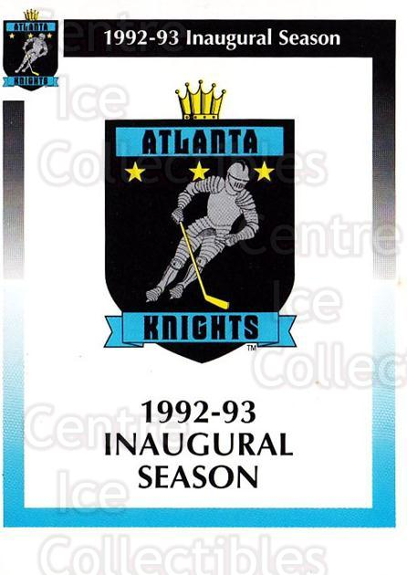 1992-93 Atlanta Knights #1 Header Card, Checklist<br/>1 In Stock - $3.00 each - <a href=https://centericecollectibles.foxycart.com/cart?name=1992-93%20Atlanta%20Knights%20%231%20Header%20Card,%20Ch...&price=$3.00&code=700719 class=foxycart> Buy it now! </a>