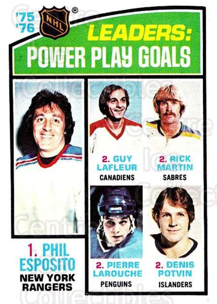 1976-77 O-Pee-Chee #5 Phil Esposito, Guy Lafleur, Richard Martin, Pierre Larouche, Denis Potvin<br/>1 In Stock - $5.00 each - <a href=https://centericecollectibles.foxycart.com/cart?name=1976-77%20O-Pee-Chee%20%235%20Phil%20Esposito,%20...&quantity_max=1&price=$5.00&code=701111 class=foxycart> Buy it now! </a>
