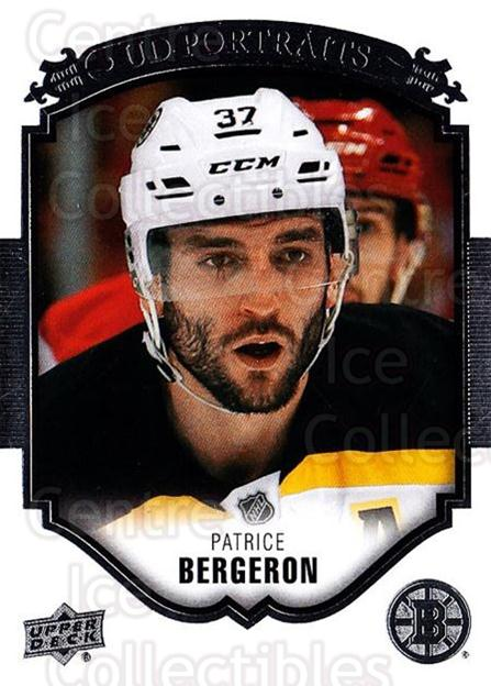2015-16 Upper Deck UD Portraits #46 Patrice Bergeron<br/>3 In Stock - $3.00 each - <a href=https://centericecollectibles.foxycart.com/cart?name=2015-16%20Upper%20Deck%20UD%20Portraits%20%2346%20Patrice%20Bergero...&quantity_max=3&price=$3.00&code=701548 class=foxycart> Buy it now! </a>