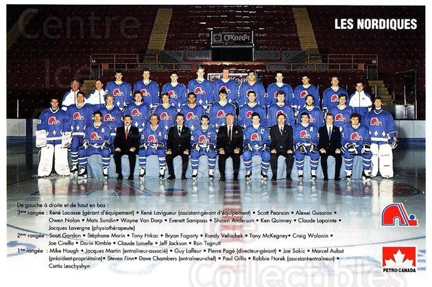 1990-91 Quebec Nordiques Petro-Canada #43 Quebec Nordiques, Team Photo<br/>1 In Stock - $3.00 each - <a href=https://centericecollectibles.foxycart.com/cart?name=1990-91%20Quebec%20Nordiques%20Petro-Canada%20%2343%20Quebec%20Nordique...&quantity_max=1&price=$3.00&code=702229 class=foxycart> Buy it now! </a>