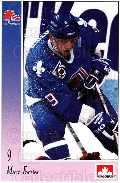 1991-92 Quebec Nordiques Petro-Canada #8 Marc Fortier<br/>1 In Stock - $3.00 each - <a href=https://centericecollectibles.foxycart.com/cart?name=1991-92%20Quebec%20Nordiques%20Petro-Canada%20%238%20Marc%20Fortier...&quantity_max=1&price=$3.00&code=702269 class=foxycart> Buy it now! </a>