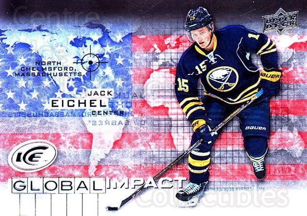 2015-16 UD Ice Global Impact #JE Jack Eichel<br/>2 In Stock - $10.00 each - <a href=https://centericecollectibles.foxycart.com/cart?name=2015-16%20UD%20Ice%20Global%20Impact%20%23JE%20Jack%20Eichel...&quantity_max=2&price=$10.00&code=702316 class=foxycart> Buy it now! </a>