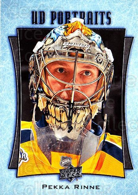 2016-17 Upper Deck UD Portraits #5 Pekka Rinne<br/>2 In Stock - $2.00 each - <a href=https://centericecollectibles.foxycart.com/cart?name=2016-17%20Upper%20Deck%20UD%20Portraits%20%235%20Pekka%20Rinne...&quantity_max=2&price=$2.00&code=702440 class=foxycart> Buy it now! </a>