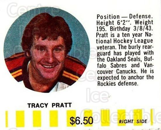 1976-77 Colorado Rockies Puck Bucks Yellow #16 Tracy Pratt<br/>1 In Stock - $5.00 each - <a href=https://centericecollectibles.foxycart.com/cart?name=1976-77%20Colorado%20Rockies%20Puck%20Bucks%20Yellow%20%2316%20Tracy%20Pratt...&quantity_max=1&price=$5.00&code=702979 class=foxycart> Buy it now! </a>