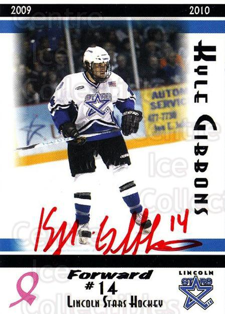 2009-10 Lincoln Stars Embossed Autograph #12 Kyle Gibbons<br/>1 In Stock - $10.00 each - <a href=https://centericecollectibles.foxycart.com/cart?name=2009-10%20Lincoln%20Stars%20Embossed%20Autograph%20%2312%20Kyle%20Gibbons...&quantity_max=1&price=$10.00&code=703663 class=foxycart> Buy it now! </a>