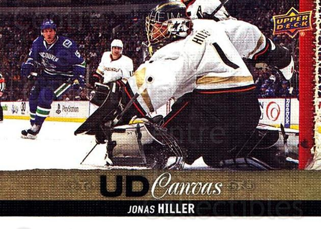 2013-14 Upper Deck Canvas #77 Jonas Hiller<br/>1 In Stock - $2.00 each - <a href=https://centericecollectibles.foxycart.com/cart?name=2013-14%20Upper%20Deck%20Canvas%20%2377%20Jonas%20Hiller...&quantity_max=1&price=$2.00&code=704080 class=foxycart> Buy it now! </a>