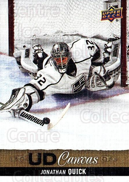 2013-14 Upper Deck Canvas #80 Jonathan Quick<br/>1 In Stock - $2.00 each - <a href=https://centericecollectibles.foxycart.com/cart?name=2013-14%20Upper%20Deck%20Canvas%20%2380%20Jonathan%20Quick...&quantity_max=1&price=$2.00&code=704083 class=foxycart> Buy it now! </a>