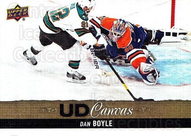 2013-14 Upper Deck Canvas #85 Dan Boyle<br/>2 In Stock - $2.00 each - <a href=https://centericecollectibles.foxycart.com/cart?name=2013-14%20Upper%20Deck%20Canvas%20%2385%20Dan%20Boyle...&quantity_max=2&price=$2.00&code=704088 class=foxycart> Buy it now! </a>