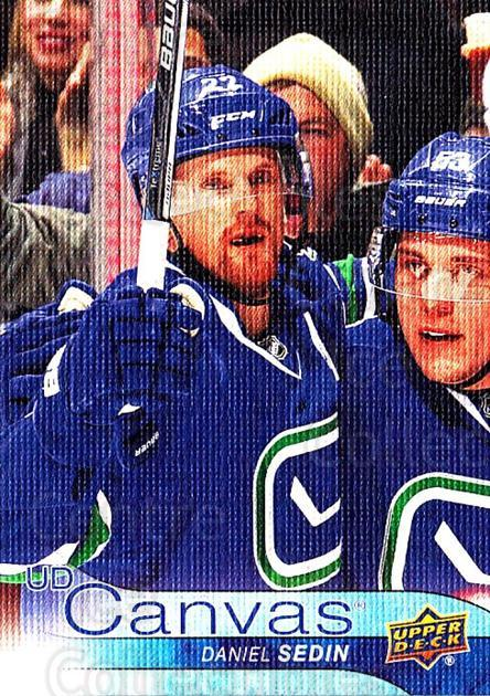 2016-17 Upper Deck Canvas #80 Daniel Sedin<br/>2 In Stock - $2.00 each - <a href=https://centericecollectibles.foxycart.com/cart?name=2016-17%20Upper%20Deck%20Canvas%20%2380%20Daniel%20Sedin...&quantity_max=2&price=$2.00&code=704623 class=foxycart> Buy it now! </a>