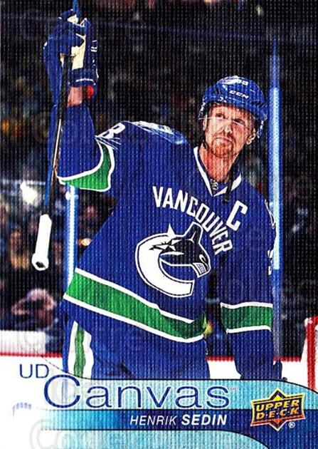 2016-17 Upper Deck Canvas #200 Henrik Sedin<br/>1 In Stock - $2.00 each - <a href=https://centericecollectibles.foxycart.com/cart?name=2016-17%20Upper%20Deck%20Canvas%20%23200%20Henrik%20Sedin...&quantity_max=1&price=$2.00&code=704743 class=foxycart> Buy it now! </a>