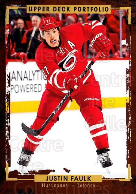 2015-16 Upper Deck Portfolio #8 Justin Faulk<br/>5 In Stock - $1.00 each - <a href=https://centericecollectibles.foxycart.com/cart?name=2015-16%20Upper%20Deck%20Portfolio%20%238%20Justin%20Faulk...&quantity_max=5&price=$1.00&code=704882 class=foxycart> Buy it now! </a>