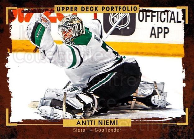 2015-16 Upper Deck Portfolio #12 Antti Niemi<br/>5 In Stock - $1.00 each - <a href=https://centericecollectibles.foxycart.com/cart?name=2015-16%20Upper%20Deck%20Portfolio%20%2312%20Antti%20Niemi...&quantity_max=5&price=$1.00&code=704886 class=foxycart> Buy it now! </a>