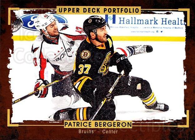 2015-16 Upper Deck Portfolio #40 Patrice Bergeron<br/>5 In Stock - $2.00 each - <a href=https://centericecollectibles.foxycart.com/cart?name=2015-16%20Upper%20Deck%20Portfolio%20%2340%20Patrice%20Bergero...&quantity_max=5&price=$2.00&code=704914 class=foxycart> Buy it now! </a>