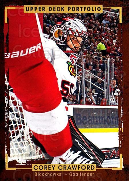 2015-16 Upper Deck Portfolio #99 Corey Crawford<br/>4 In Stock - $1.00 each - <a href=https://centericecollectibles.foxycart.com/cart?name=2015-16%20Upper%20Deck%20Portfolio%20%2399%20Corey%20Crawford...&quantity_max=4&price=$1.00&code=704973 class=foxycart> Buy it now! </a>