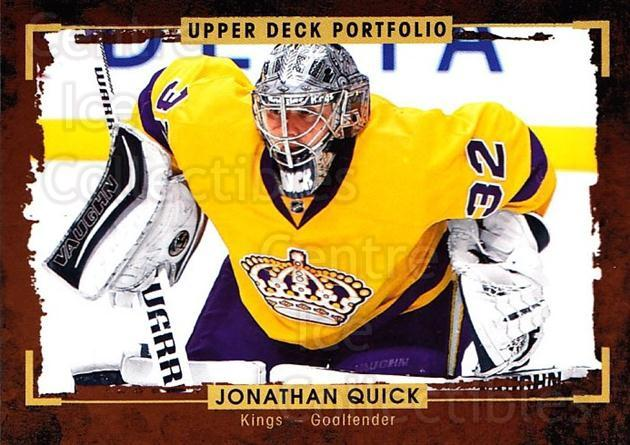 2015-16 Upper Deck Portfolio #121 Jonathan Quick<br/>5 In Stock - $1.00 each - <a href=https://centericecollectibles.foxycart.com/cart?name=2015-16%20Upper%20Deck%20Portfolio%20%23121%20Jonathan%20Quick...&quantity_max=5&price=$1.00&code=704995 class=foxycart> Buy it now! </a>