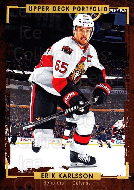2015-16 Upper Deck Portfolio #140 Erik Karlsson<br/>4 In Stock - $1.00 each - <a href=https://centericecollectibles.foxycart.com/cart?name=2015-16%20Upper%20Deck%20Portfolio%20%23140%20Erik%20Karlsson...&quantity_max=4&price=$1.00&code=705014 class=foxycart> Buy it now! </a>