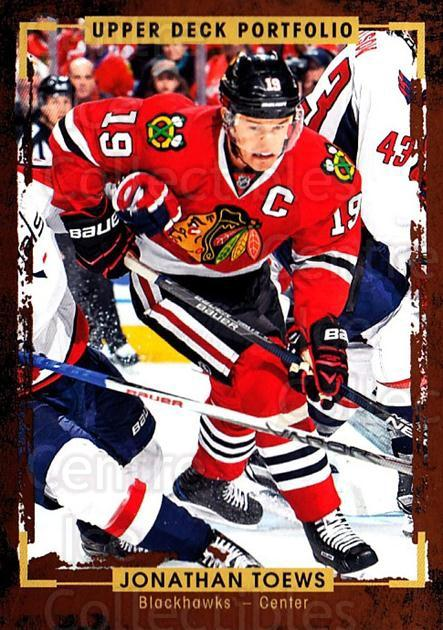 2015-16 Upper Deck Portfolio #150 Jonathan Toews<br/>4 In Stock - $2.00 each - <a href=https://centericecollectibles.foxycart.com/cart?name=2015-16%20Upper%20Deck%20Portfolio%20%23150%20Jonathan%20Toews...&quantity_max=4&price=$2.00&code=705024 class=foxycart> Buy it now! </a>