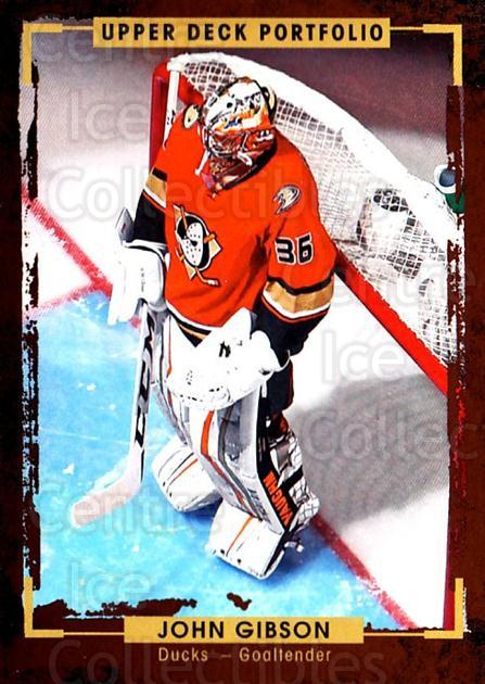 2015-16 Upper Deck Portfolio #163 John Gibson<br/>5 In Stock - $1.00 each - <a href=https://centericecollectibles.foxycart.com/cart?name=2015-16%20Upper%20Deck%20Portfolio%20%23163%20John%20Gibson...&quantity_max=5&price=$1.00&code=705037 class=foxycart> Buy it now! </a>