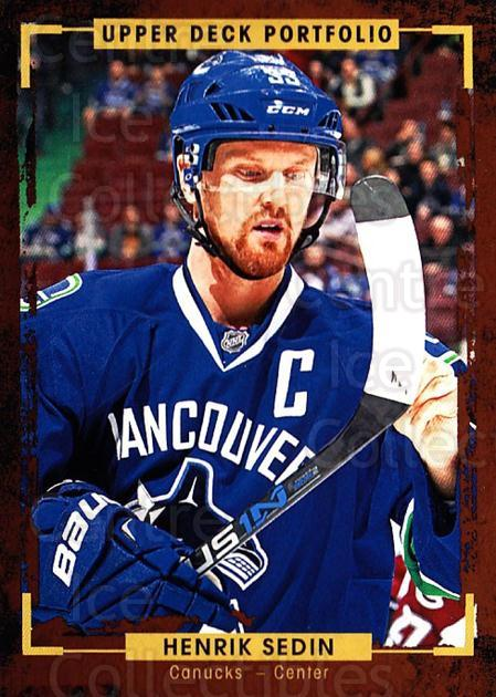 2015-16 Upper Deck Portfolio #167 Henrik Sedin<br/>5 In Stock - $1.00 each - <a href=https://centericecollectibles.foxycart.com/cart?name=2015-16%20Upper%20Deck%20Portfolio%20%23167%20Henrik%20Sedin...&quantity_max=5&price=$1.00&code=705041 class=foxycart> Buy it now! </a>
