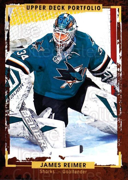 2015-16 Upper Deck Portfolio #169 James Reimer<br/>3 In Stock - $1.00 each - <a href=https://centericecollectibles.foxycart.com/cart?name=2015-16%20Upper%20Deck%20Portfolio%20%23169%20James%20Reimer...&quantity_max=3&price=$1.00&code=705043 class=foxycart> Buy it now! </a>