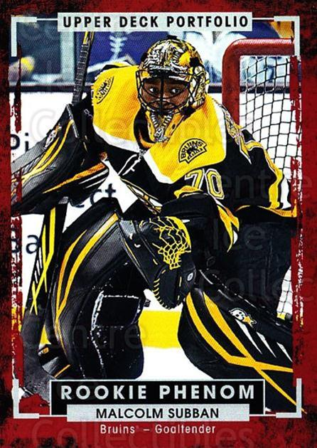 2015-16 Upper Deck Portfolio #230 Malcolm Subban<br/>1 In Stock - $3.00 each - <a href=https://centericecollectibles.foxycart.com/cart?name=2015-16%20Upper%20Deck%20Portfolio%20%23230%20Malcolm%20Subban...&quantity_max=1&price=$3.00&code=705104 class=foxycart> Buy it now! </a>