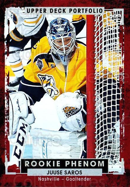 2015-16 Upper Deck Portfolio #231 Juuse Saros<br/>4 In Stock - $3.00 each - <a href=https://centericecollectibles.foxycart.com/cart?name=2015-16%20Upper%20Deck%20Portfolio%20%23231%20Juuse%20Saros...&quantity_max=4&price=$3.00&code=705105 class=foxycart> Buy it now! </a>