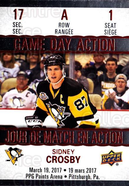 2017-18 Tim Hortons Game Day Action #1 Sidney Crosby<br/>3 In Stock - $5.00 each - <a href=https://centericecollectibles.foxycart.com/cart?name=2017-18%20Tim%20Hortons%20Game%20Day%20Action%20%231%20Sidney%20Crosby...&price=$5.00&code=706070 class=foxycart> Buy it now! </a>