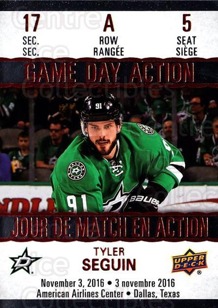 2017-18 Tim Hortons Game Day Action #5 Tyler Seguin<br/>7 In Stock - $3.00 each - <a href=https://centericecollectibles.foxycart.com/cart?name=2017-18%20Tim%20Hortons%20Game%20Day%20Action%20%235%20Tyler%20Seguin...&quantity_max=7&price=$3.00&code=706074 class=foxycart> Buy it now! </a>