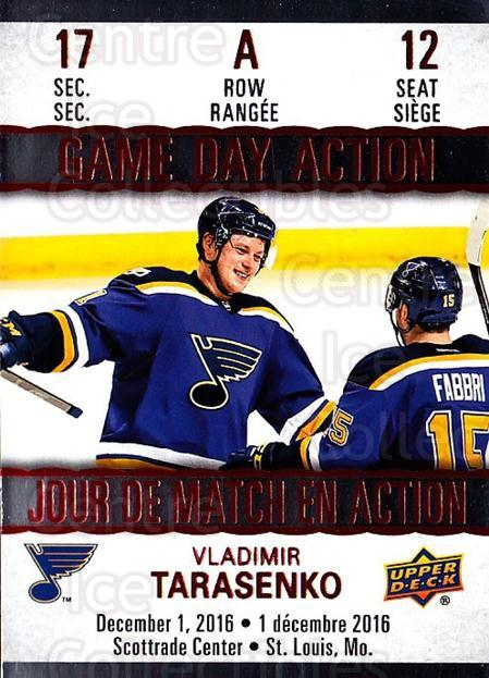 2017-18 Tim Hortons Game Day Action #12 Vladimir Tarasenko<br/>7 In Stock - $3.00 each - <a href=https://centericecollectibles.foxycart.com/cart?name=2017-18%20Tim%20Hortons%20Game%20Day%20Action%20%2312%20Vladimir%20Tarase...&quantity_max=7&price=$3.00&code=706081 class=foxycart> Buy it now! </a>