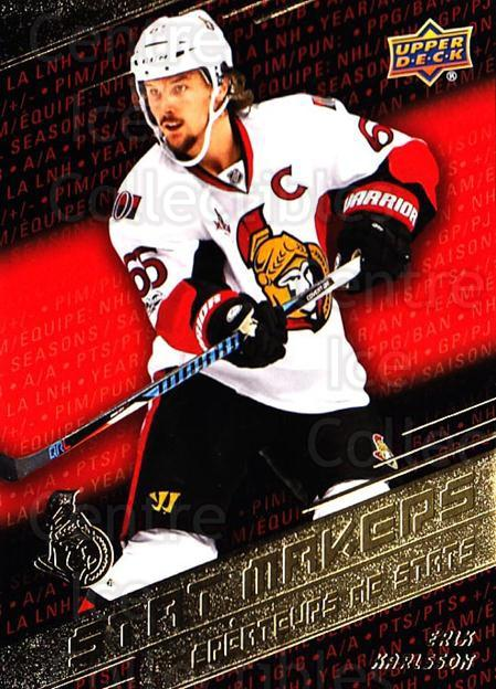 2017-18 Tim Hortons Stat Makers #7 Erik Karlsson<br/>7 In Stock - $3.00 each - <a href=https://centericecollectibles.foxycart.com/cart?name=2017-18%20Tim%20Hortons%20Stat%20Makers%20%237%20Erik%20Karlsson...&quantity_max=7&price=$3.00&code=706103 class=foxycart> Buy it now! </a>