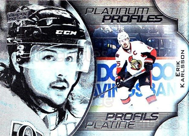 2016-17 Tim Hortons Platinum Profiles #9 Erik Karlsson<br/>1 In Stock - $3.00 each - <a href=https://centericecollectibles.foxycart.com/cart?name=2016-17%20Tim%20Hortons%20Platinum%20Profiles%20%239%20Erik%20Karlsson...&quantity_max=1&price=$3.00&code=706127 class=foxycart> Buy it now! </a>