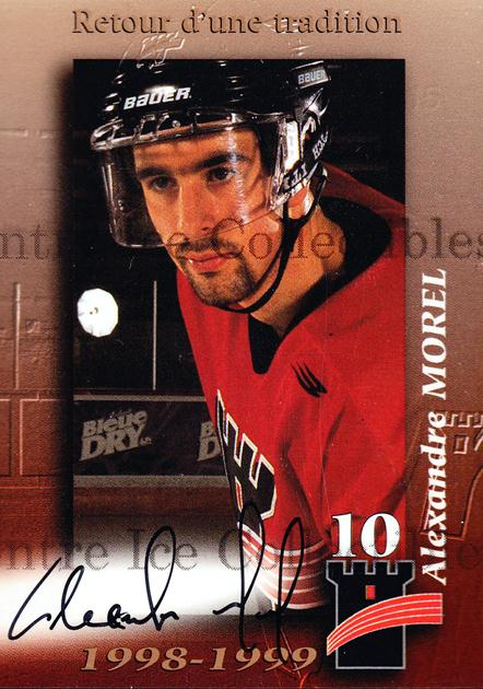 1998-99 Quebec Remparts Autographed #16 Alexandre Morel<br/>2 In Stock - $5.00 each - <a href=https://centericecollectibles.foxycart.com/cart?name=1998-99%20Quebec%20Remparts%20Autographed%20%2316%20Alexandre%20Morel...&price=$5.00&code=70658 class=foxycart> Buy it now! </a>