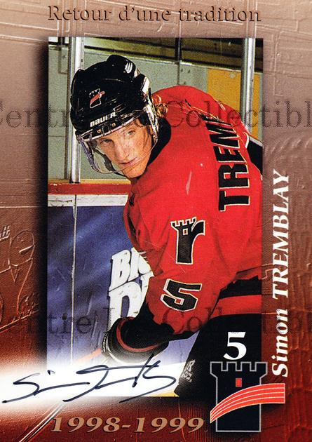 1998-99 Quebec Remparts Autographed #20 Simon Tremblay<br/>2 In Stock - $5.00 each - <a href=https://centericecollectibles.foxycart.com/cart?name=1998-99%20Quebec%20Remparts%20Autographed%20%2320%20Simon%20Tremblay...&price=$5.00&code=70663 class=foxycart> Buy it now! </a>
