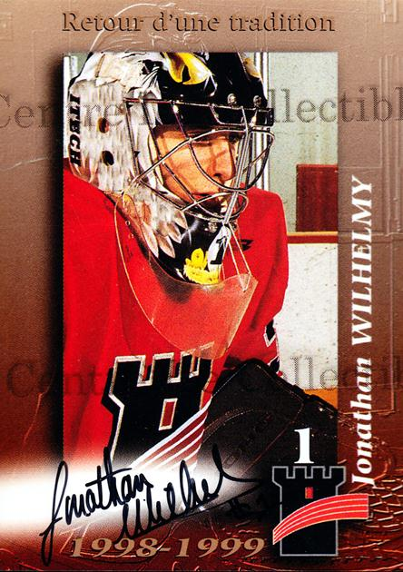 1998-99 Quebec Remparts Autographed #23 Jonathan Wilhelmy<br/>1 In Stock - $5.00 each - <a href=https://centericecollectibles.foxycart.com/cart?name=1998-99%20Quebec%20Remparts%20Autographed%20%2323%20Jonathan%20Wilhel...&price=$5.00&code=70664 class=foxycart> Buy it now! </a>