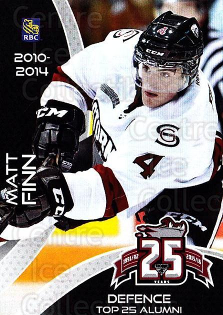 2015-16 Guelph Storm Alumni #15 Matt Finn<br/>2 In Stock - $3.00 each - <a href=https://centericecollectibles.foxycart.com/cart?name=2015-16%20Guelph%20Storm%20Alumni%20%2315%20Matt%20Finn...&price=$3.00&code=706954 class=foxycart> Buy it now! </a>