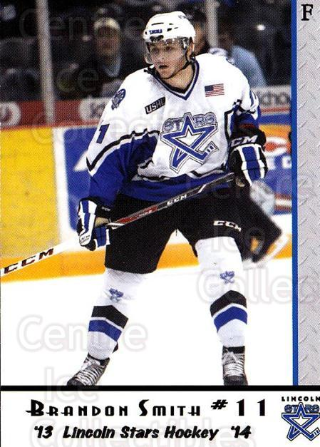 2013-14 Lincoln Stars High Gloss #10 Brandon Smith (2)<br/>3 In Stock - $3.00 each - <a href=https://centericecollectibles.foxycart.com/cart?name=2013-14%20Lincoln%20Stars%20High%20Gloss%20%2310%20Brandon%20Smith%20(...&quantity_max=3&price=$3.00&code=707145 class=foxycart> Buy it now! </a>