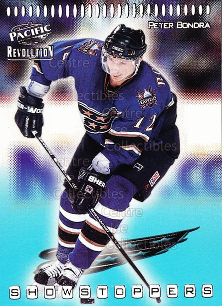 1998-99 Revolution Showstoppers #36 Peter Bondra<br/>5 In Stock - $2.00 each - <a href=https://centericecollectibles.foxycart.com/cart?name=1998-99%20Revolution%20Showstoppers%20%2336%20Peter%20Bondra...&quantity_max=5&price=$2.00&code=70751 class=foxycart> Buy it now! </a>