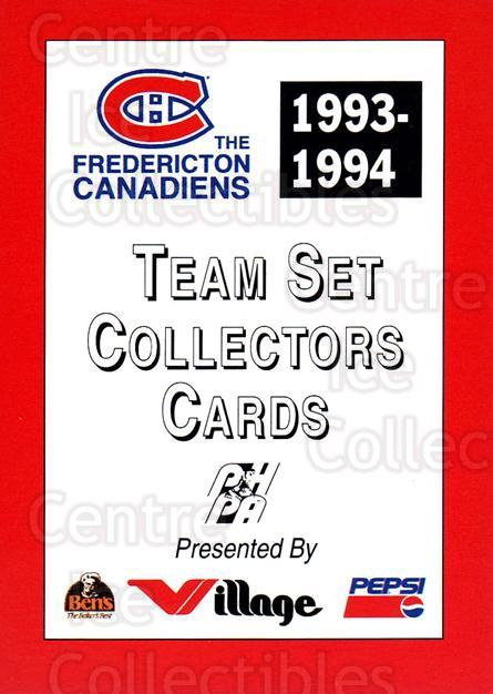 1993-94 Fredericton Canadiens #29 Header Card<br/>9 In Stock - $3.00 each - <a href=https://centericecollectibles.foxycart.com/cart?name=1993-94%20Fredericton%20Canadiens%20%2329%20Header%20Card...&price=$3.00&code=7104 class=foxycart> Buy it now! </a>